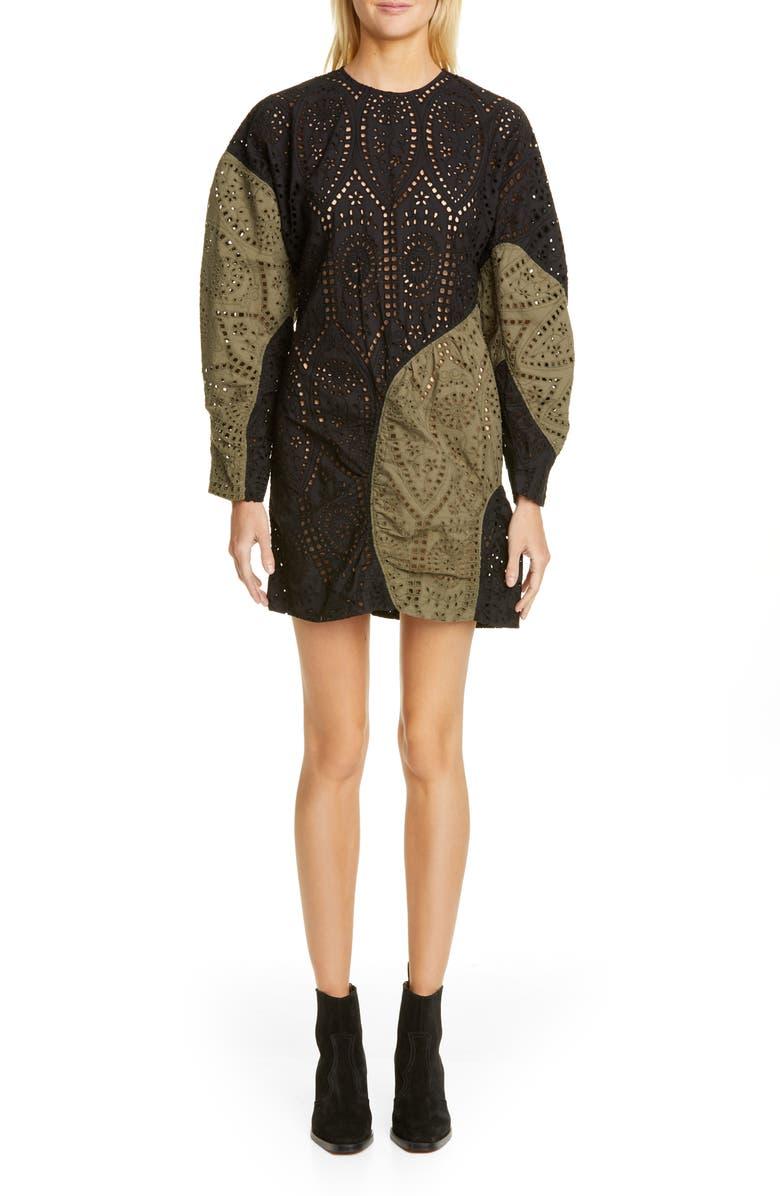 GANNI Long Sleeve Colorblock Broderie Anglaise Minidress, Main, color, BLOCK COLOUR