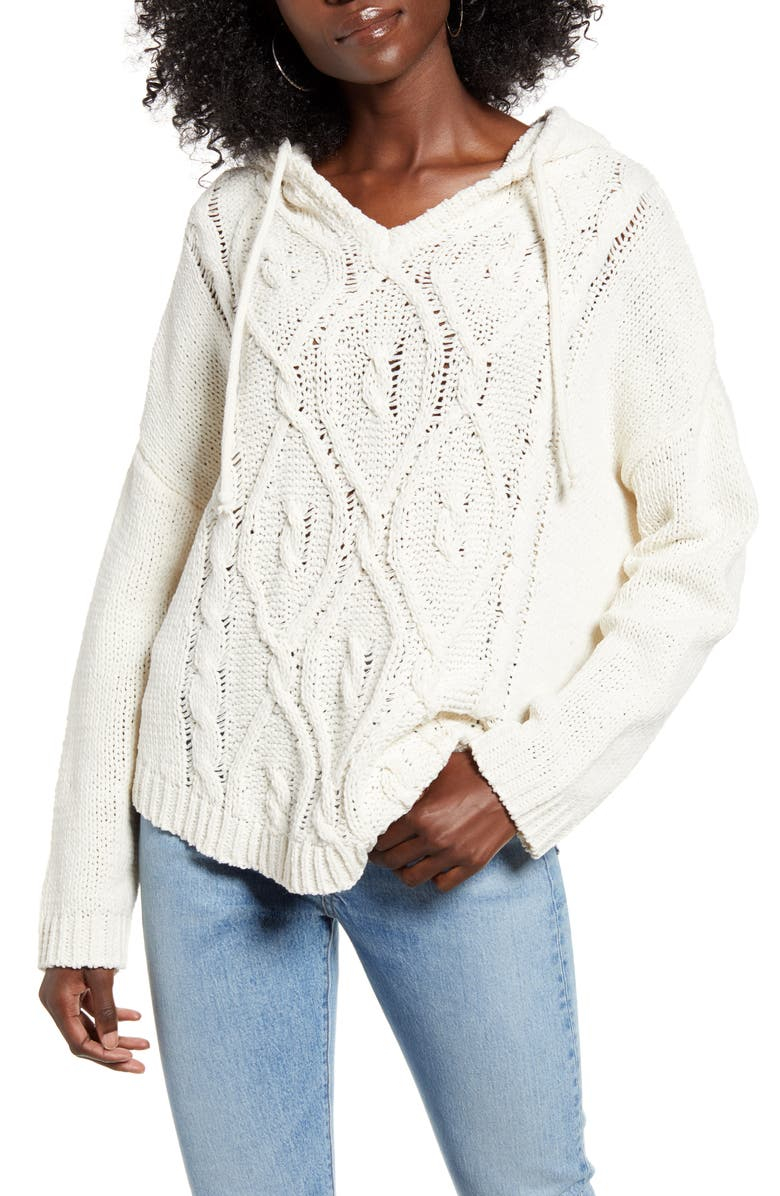 WOVEN HEART Cable Front Chenille Hooded Sweater, Main, color, 900