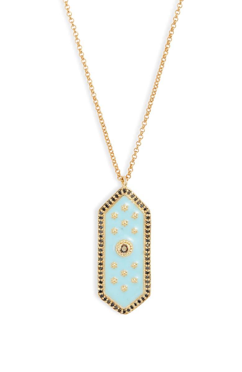 LUX DIVINE Eloise Pendant Necklace, Main, color, GOLD/ AQUA