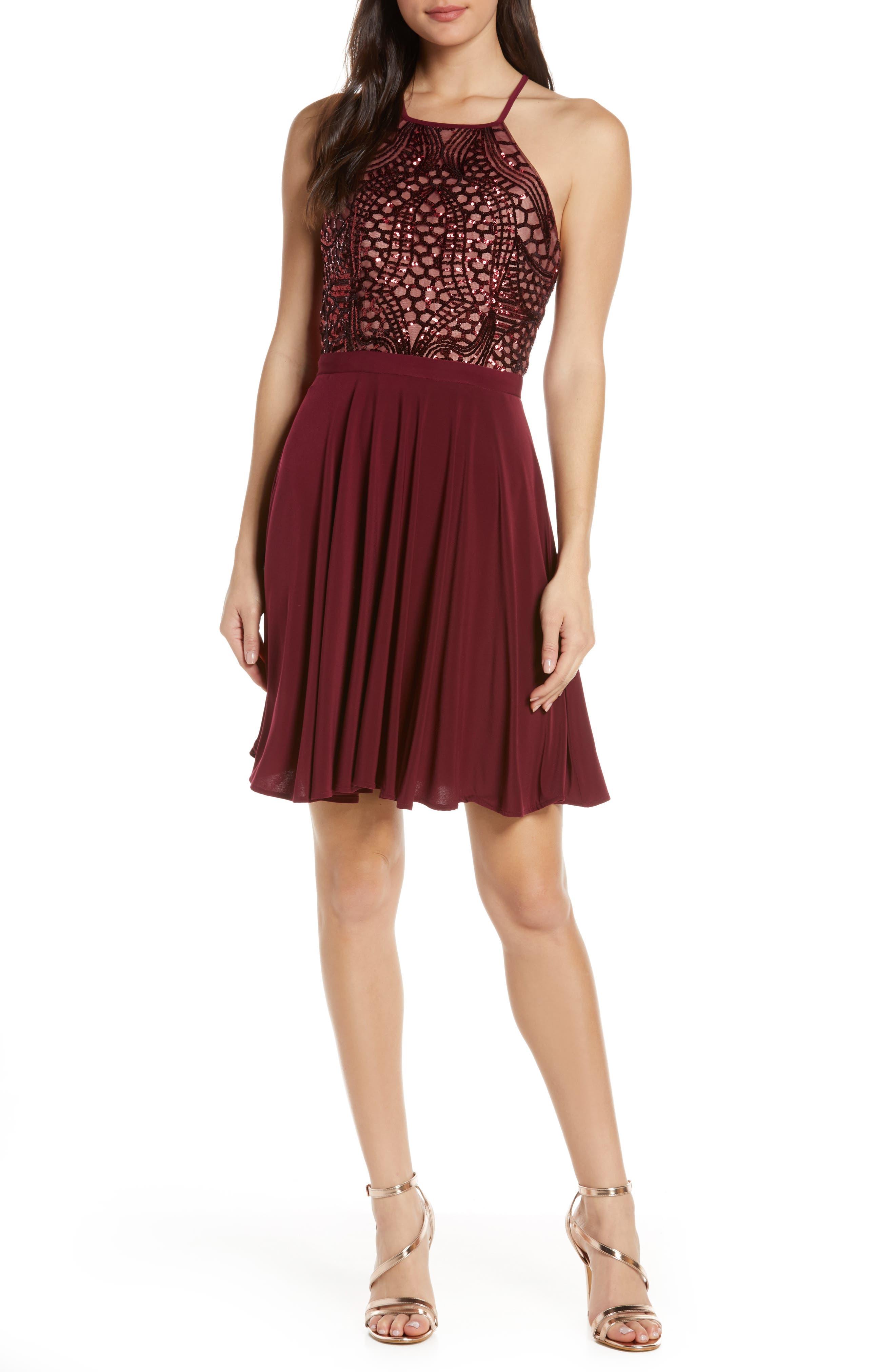 Morgan & Co. Sequin Crossback Fit & Flare Dress, Burgundy