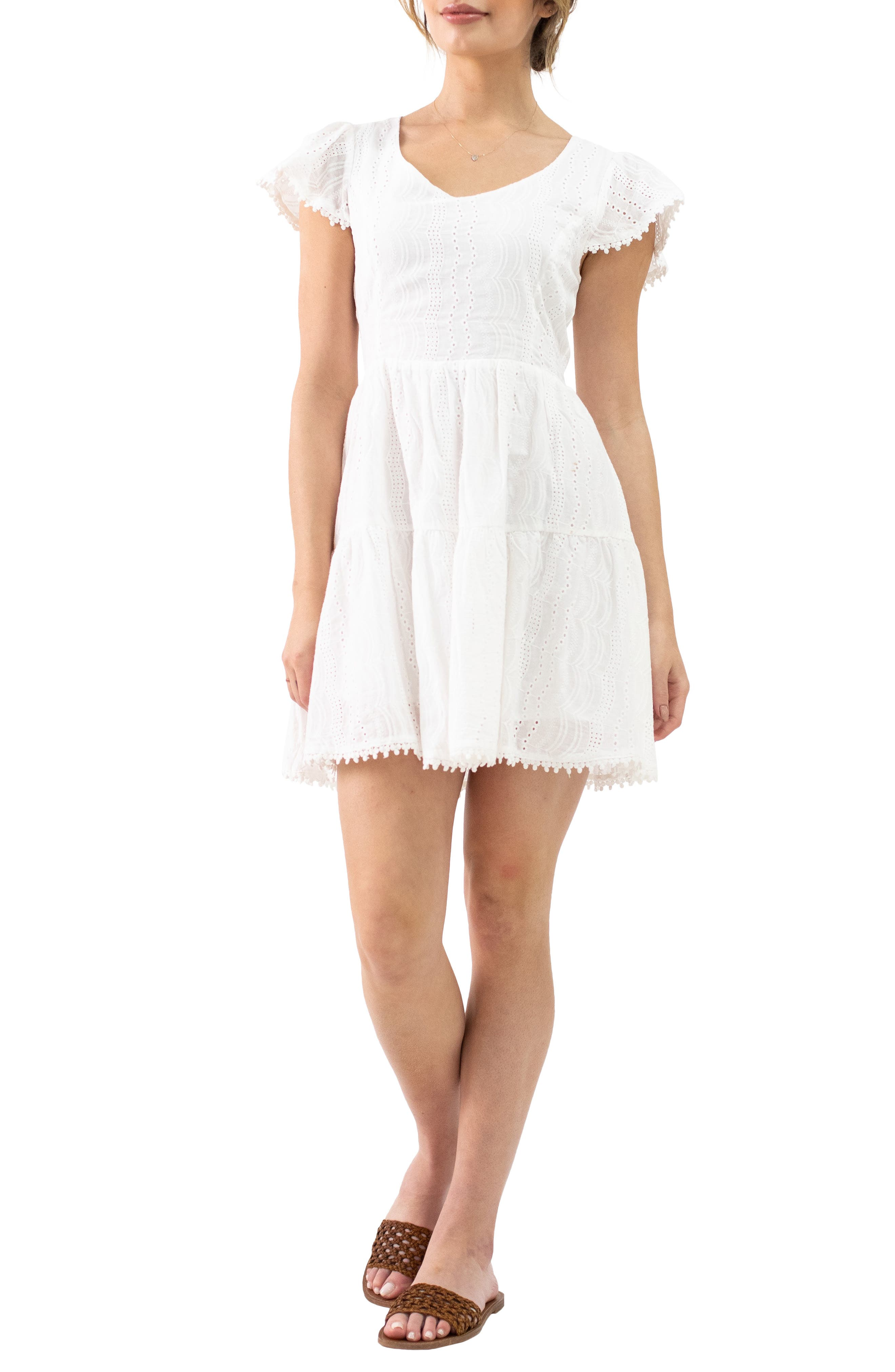 Women's Lost + Wander Middle Of Nowhere Eyelet Minidress
