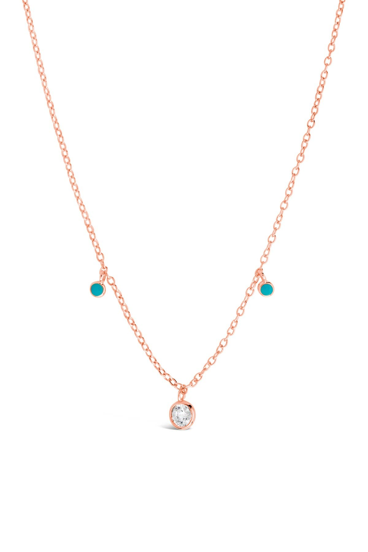 Image of Sterling Forever 14K Rose Gold Vermeil Plated Sterling Silver Green Enamel & CZ Charm Necklace