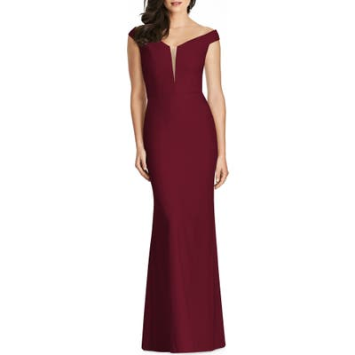 Dessy Collection Off The Shoulder Crepe Gown, Burgundy