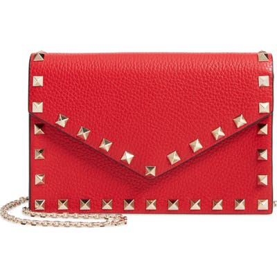 Valentino Garavani Rockstud Calfskin Leather Envelope Pouch - Red