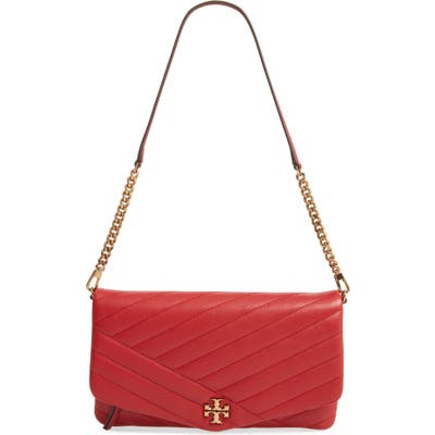 Tory Burch Kira Chevron Quilted Leather Clutch - Red