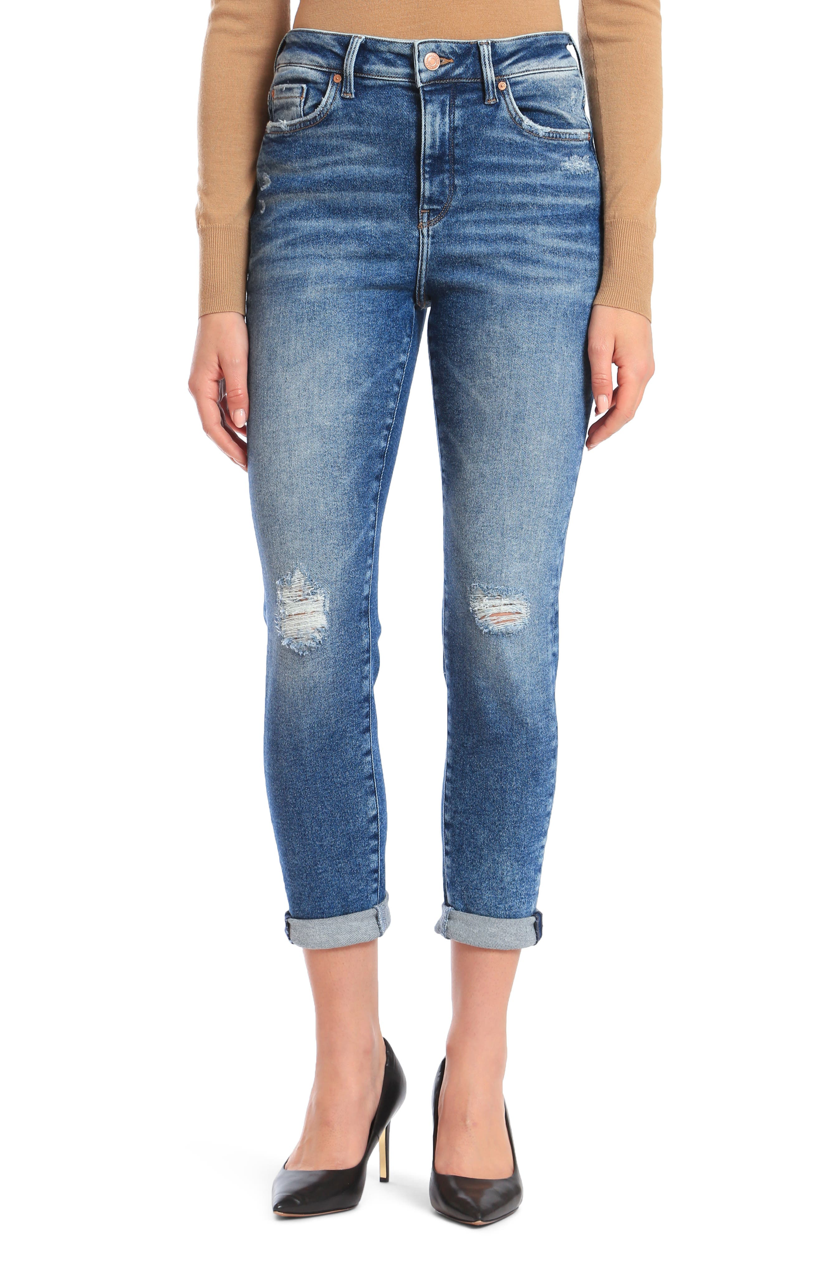 Classic mom jeans are updated for the modern era with a flattering high rise, shredded knees and a vintage blue wash. Style Name: Mavi Jeans Cindy Ripped High Waist Crop Mom Jeans (La Vintage). Style Number: 5921698. Available in stores.