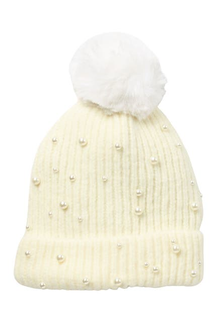 Image of Natasha Accessories Faux Fur Pom Beanie With Pearls
