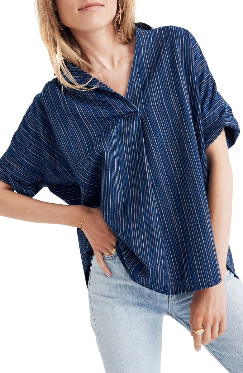 MADEWELL Courier Button Back Shirt in Cecile Stripe, Main, color, 400
