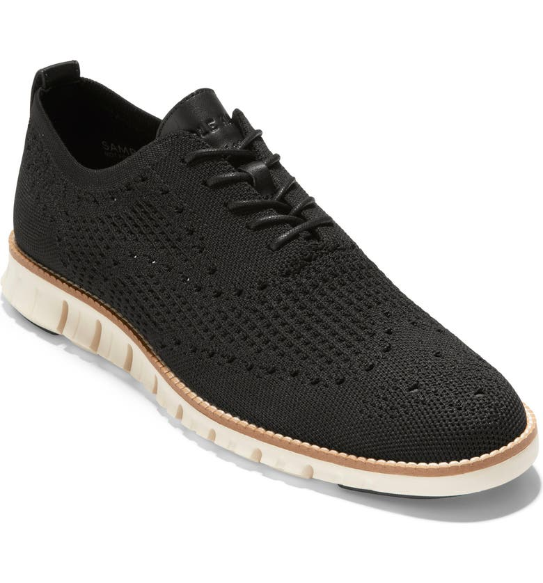COLE HAAN ZeroGrand Waffle Stitchlite Oxford, Main, color, BLACK WAF KNIT/ TAN WELT