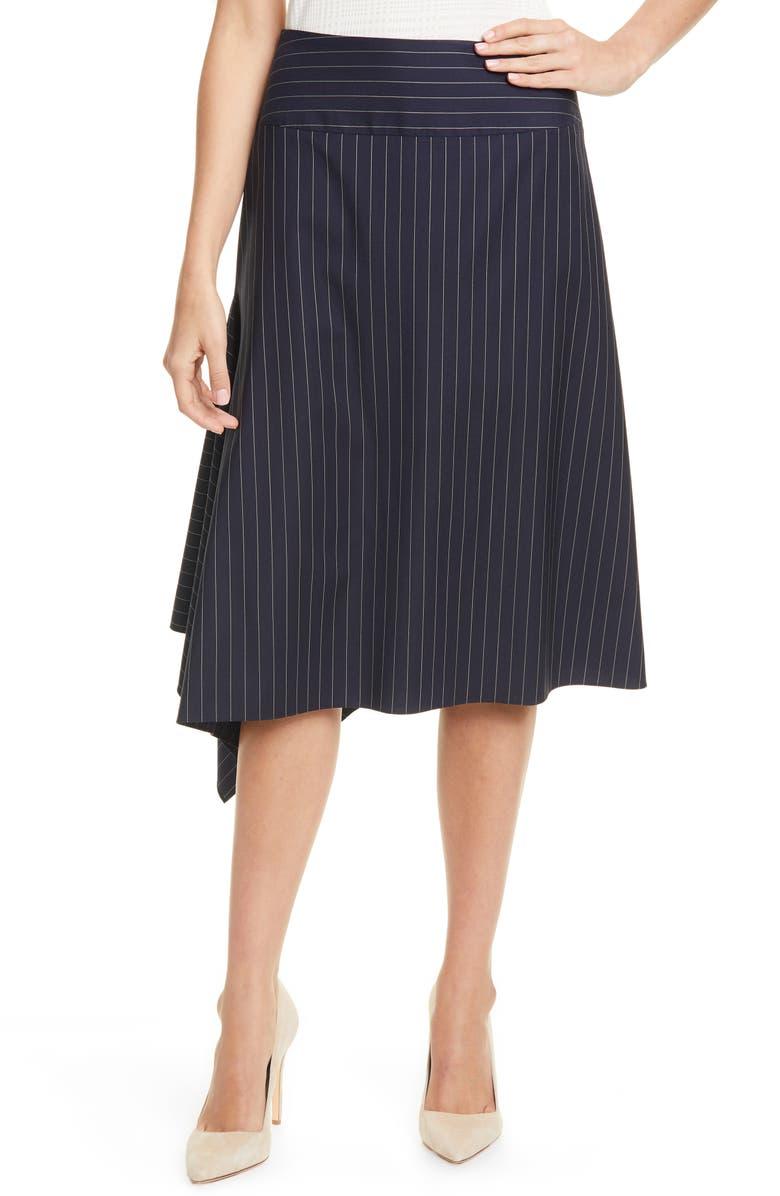 BOSS Vollux Pinstripe Stretch Wool Skirt, Main, color, MIDNIGHT FANTASY