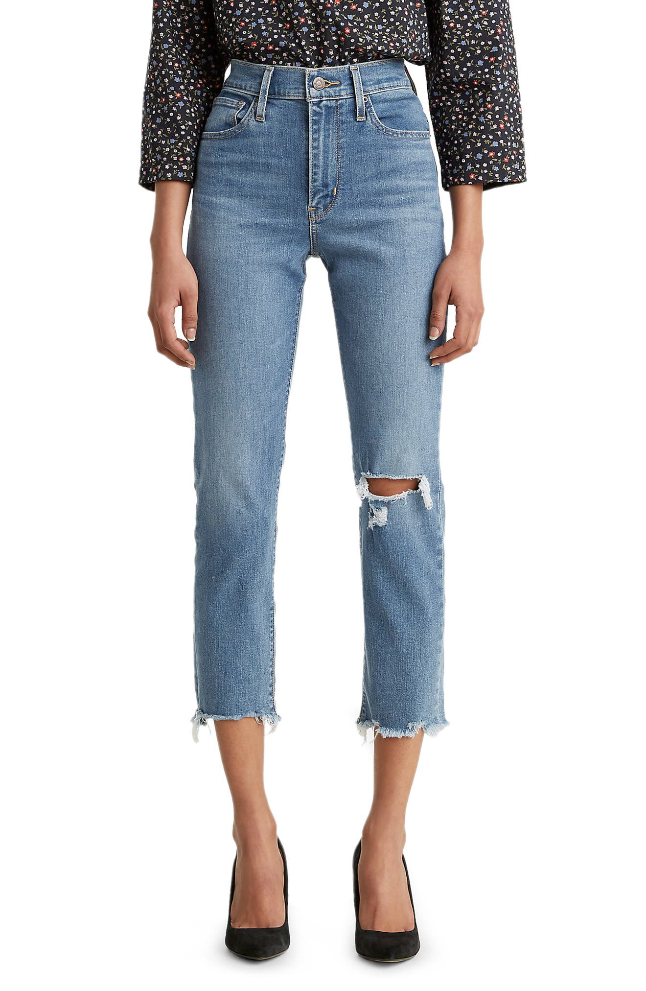 Levi's® 724™ Ripped High Waist Crop Straight Leg Jeans (New York Y'all)   Nordstrom