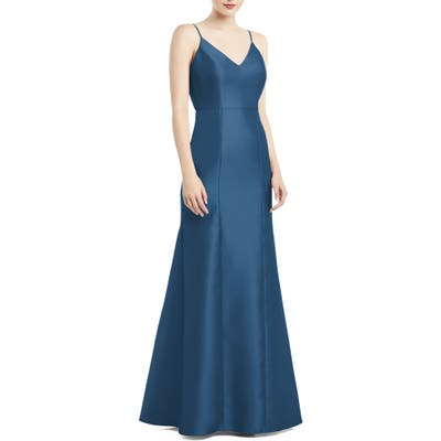 Alfred Sung Bow Back Satin Twill Trumpet Gown, Blue