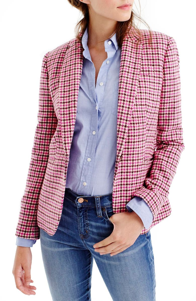 J.CREW 'Campbell' Pink Houndstooth Blazer, Main, color, 655