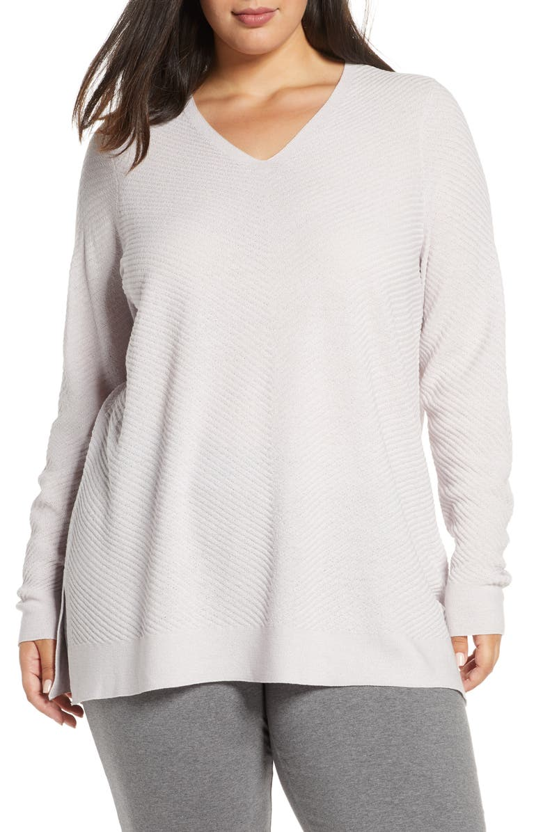 EILEEN FISHER V-Neck Wool Tunic, Main, color, CERAMIC