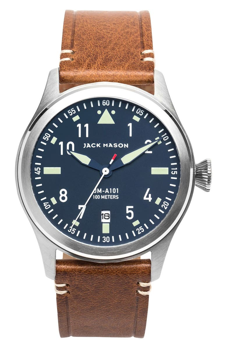 JACK MASON Aviation Leather Strap Watch, 42mm, Main, color, NAVY/ SILVER/ SADDLE