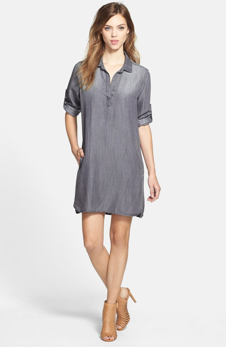 SIDE STITCH Roll Sleeve Chambray Shirtdress, Main, color, 021
