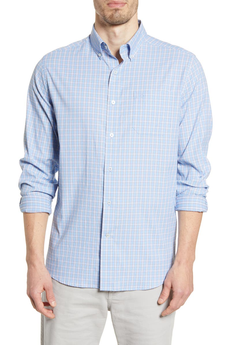 SOUTHERN TIDE Intercoastal Brrr Yawl Check Button-Down Performance Shirt, Main, color, 486