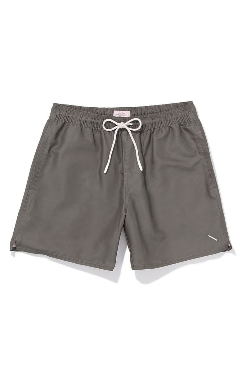 SATURDAYS NYC Timothy Solid Swim Trunks, Main, color, STEEL