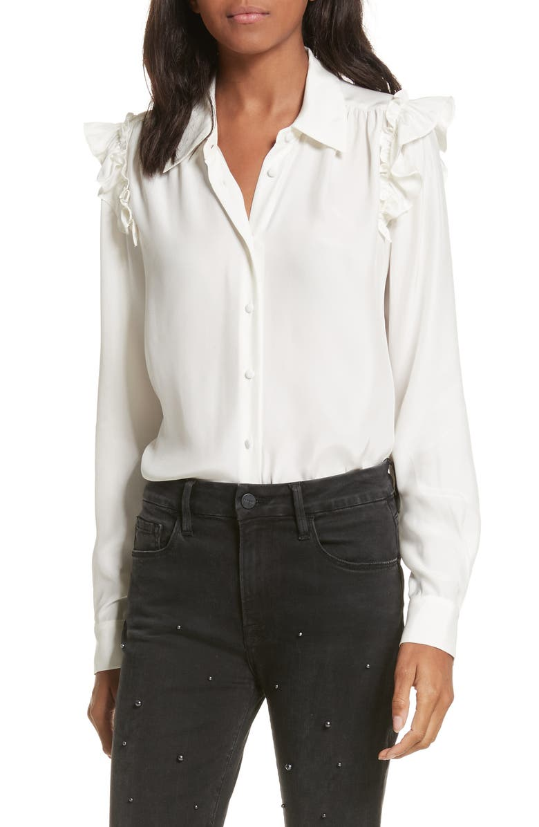 FRAME Silk Ruffle Sleeve Blouse, Main, color, 120