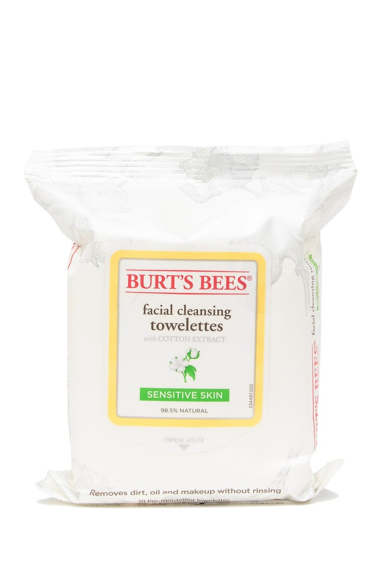 BURTS BEES Sensitive Facial Cleansing Towelettes With Cotton Extract, Main, color, NONE