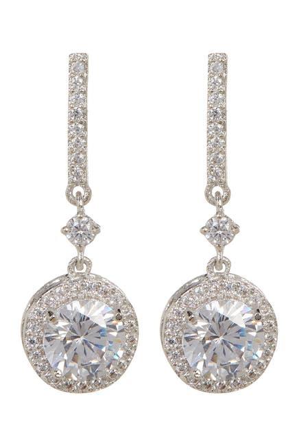 Image of Rivka Friedman CZ Round Halo Drop Stud Earrings