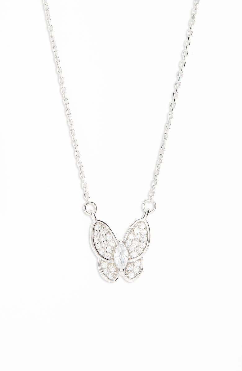 RUBY AND RY Pavé Butterfly Necklace, Main, color, SS