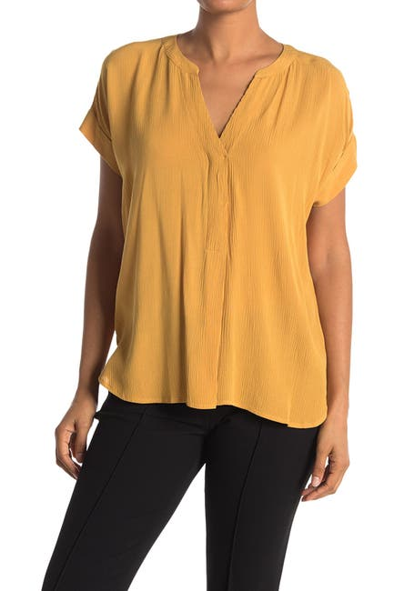 Image of Vince Camuto Gauze Split Neck Top