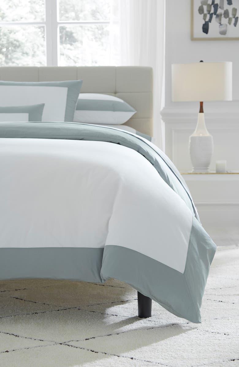 SFERRA Casida Duvet Cover, Main, color, WHITE/ SEAGREEN
