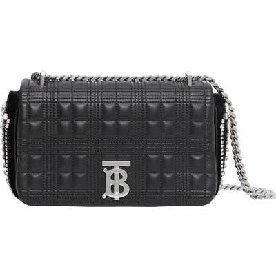 Burberry Small Lola Tb Crystal Embellished Quilted Check Leather Bag - Black