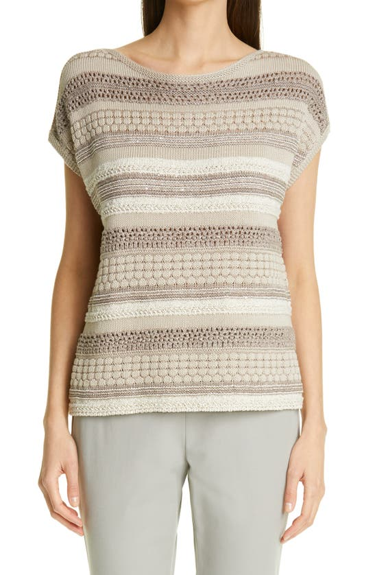 Lafayette 148 MIXED STITCH SEQUIN SWEATER