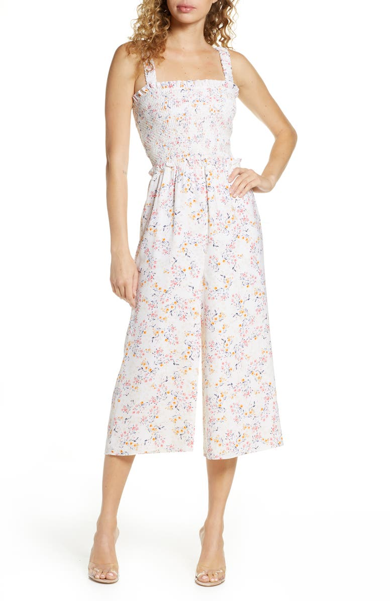 ALI & JAY Rose Bowl Floral Crop Wide Leg Jumpsuit, Main, color, 100
