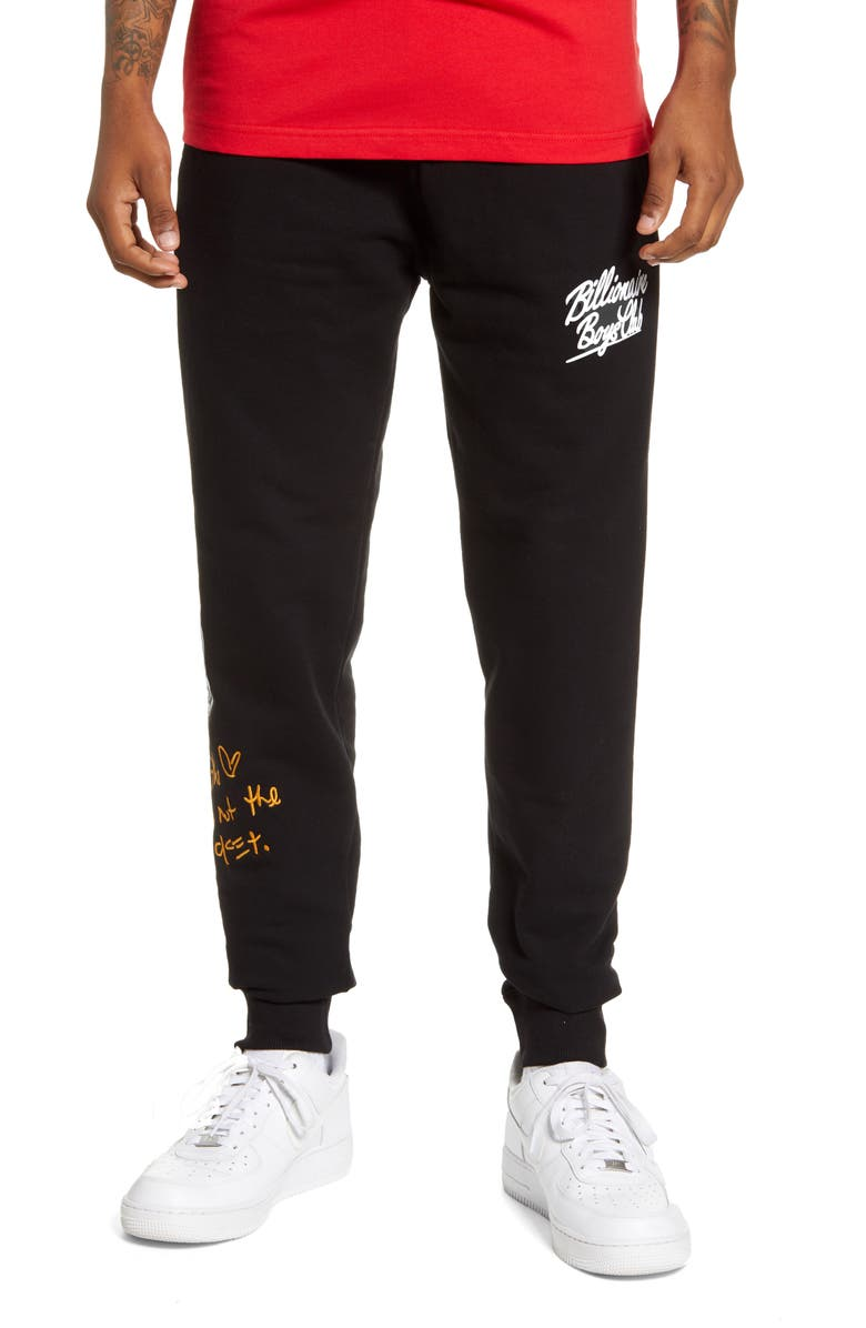 BILLIONAIRE BOYS CLUB Wealth Embroidered Sweatpants, Main, color, BLACK