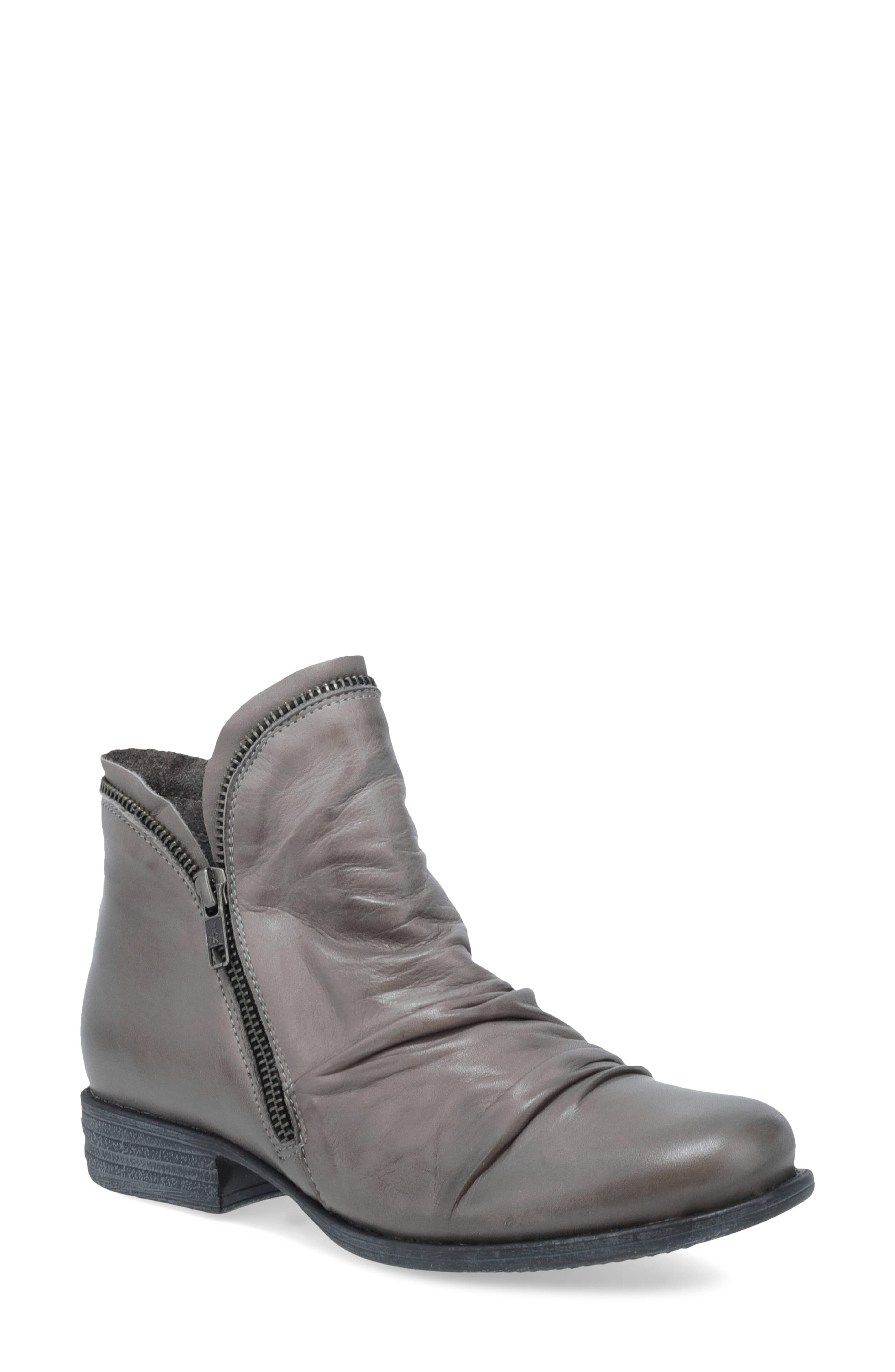 Exposed zip teeth trace the cuff of a stylishly slouchy ankle boot done in rich leather. Style Name: Miz Mooz \\\'Luna\\\' Ankle Boot (Women). Style Number: 1138933. Available in stores.