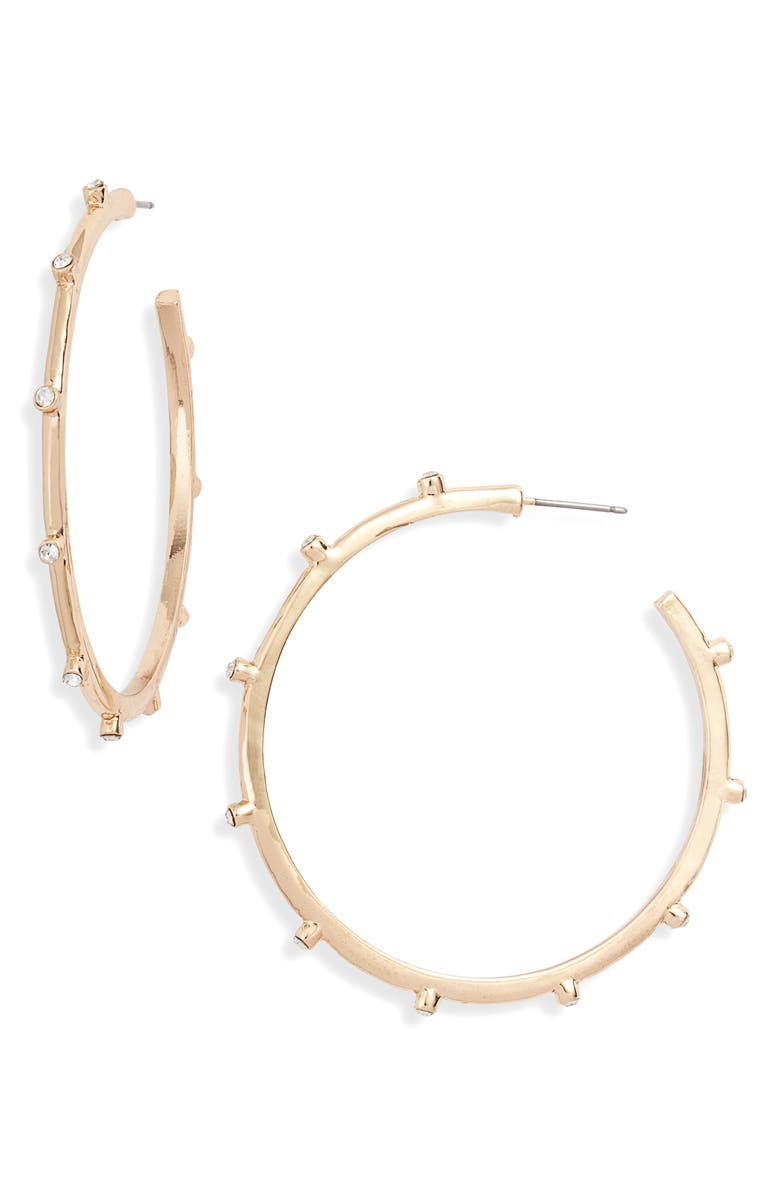 RACHEL PARCELL Crystal Stud Hoop Earrings, Main, color, CLEAR- GOLD