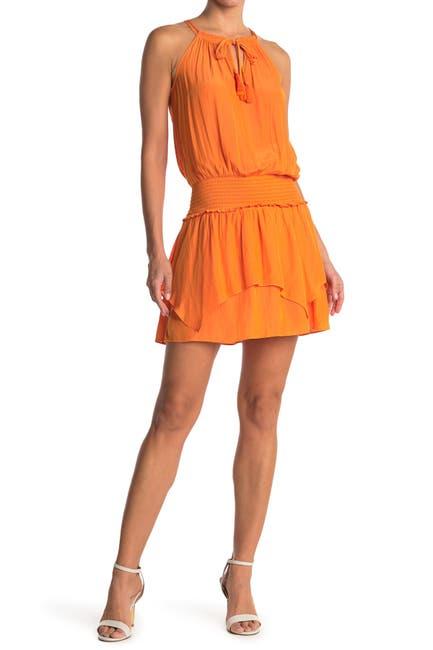Image of Ramy Brook Rubie Keyhole Blouson Smocked Mini Dress