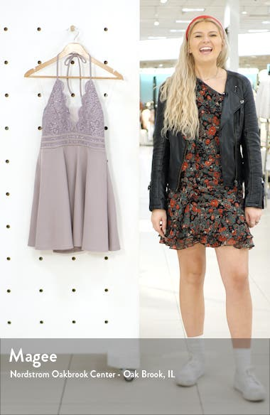 Halter Neck Lace & Scuba Crepe Minidress, sales video thumbnail