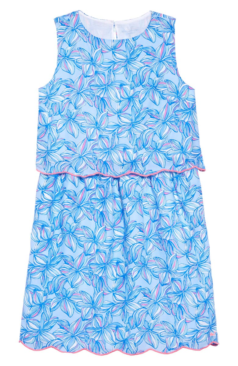 VINEYARD VINES Plumeria Scallop Popover Dress, Main, color, JAKE BLUE