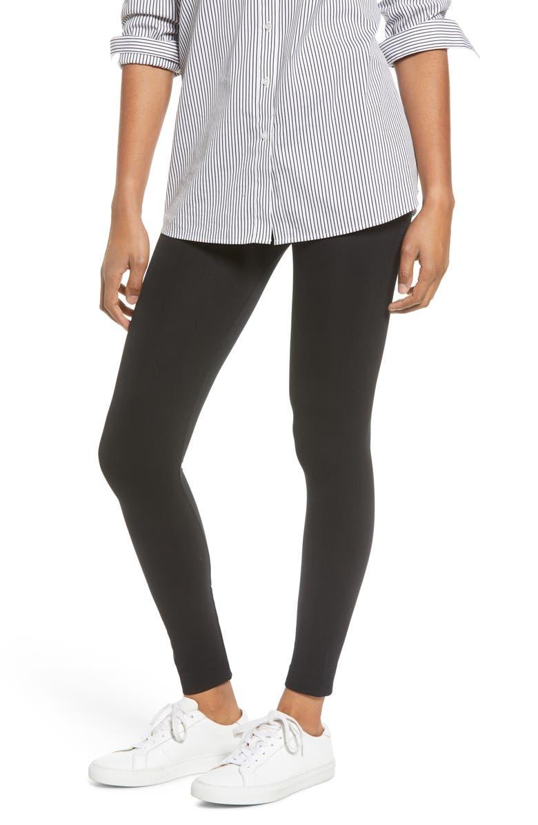 HUE Brushed Seamless Leggings, Main, color, BLACK