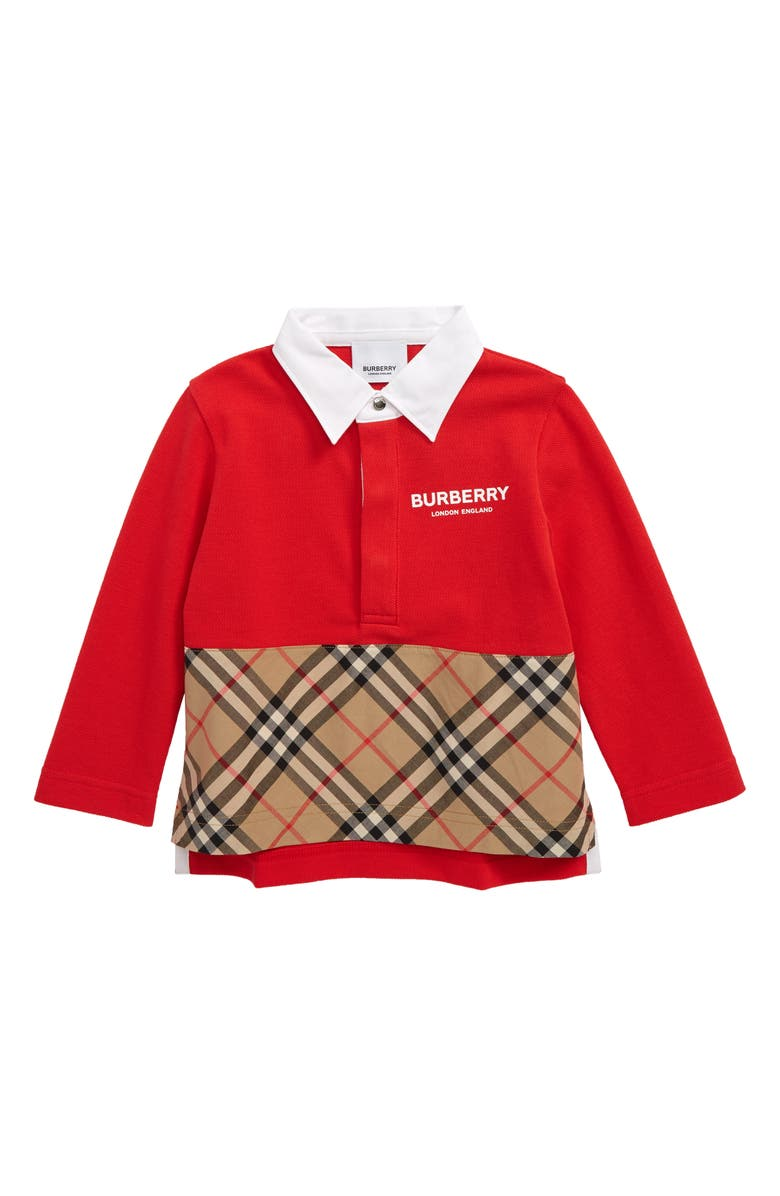 BURBERRY Quentin Mixed Media Polo, Main, color, BRIGHT RED