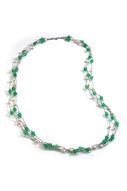 Image of Savvy Cie Sterling Silver Agate & Cultured Pearl Layered Necklace