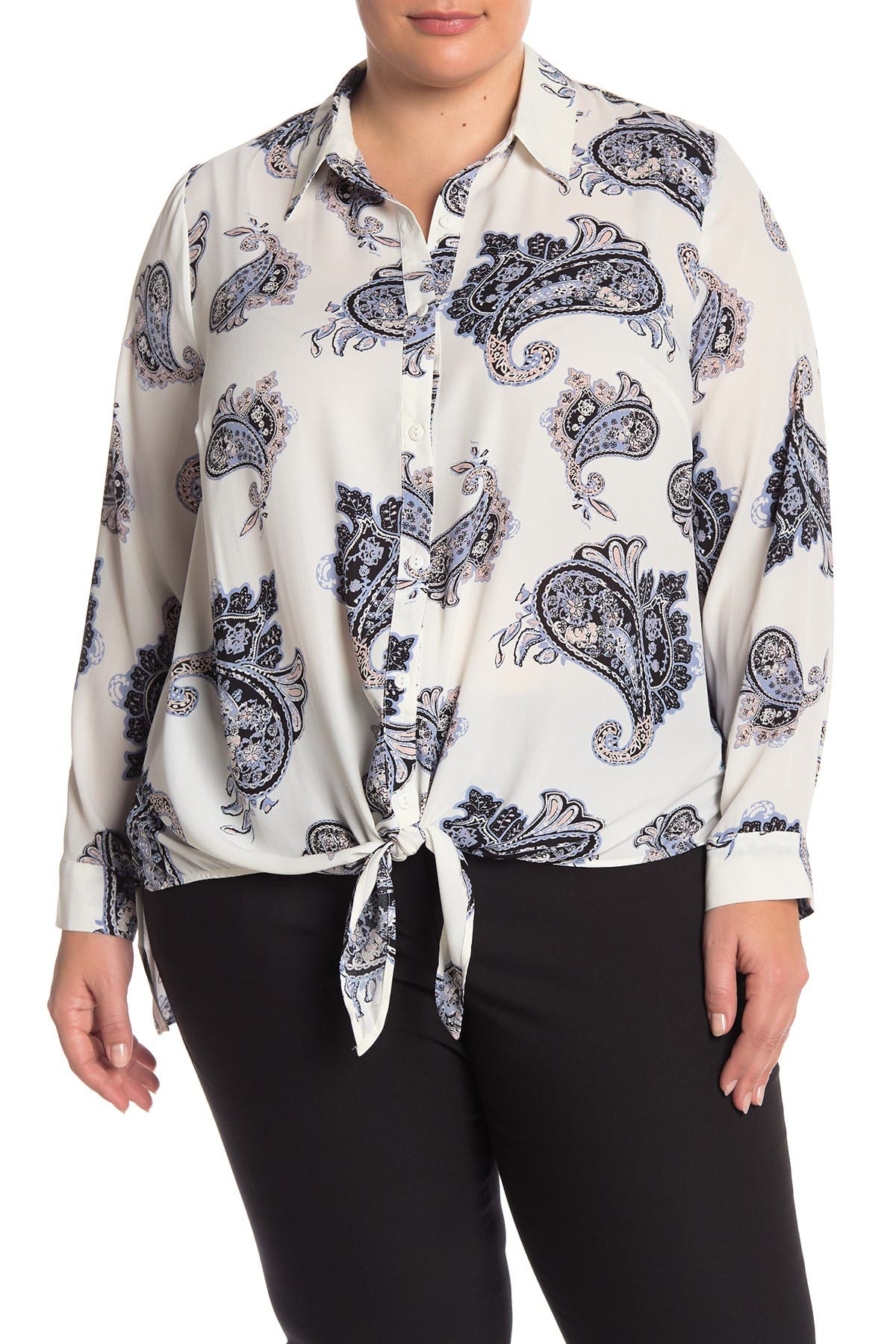 Image of DR2 by Daniel Rainn Printed Tie Front Tunic Blouse