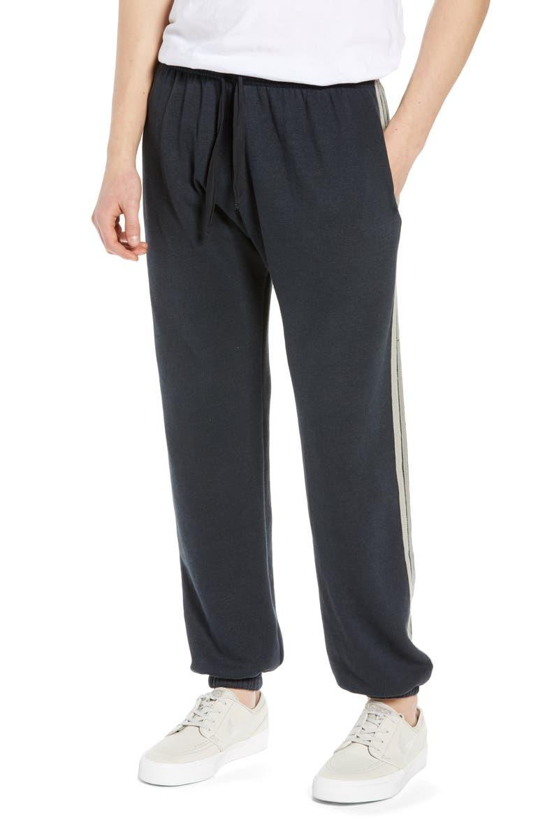 AVIATOR NATION 5-Stripe Slim Fit Sweatpants, Main, color, CHARCOAL/ GREY STRIPE