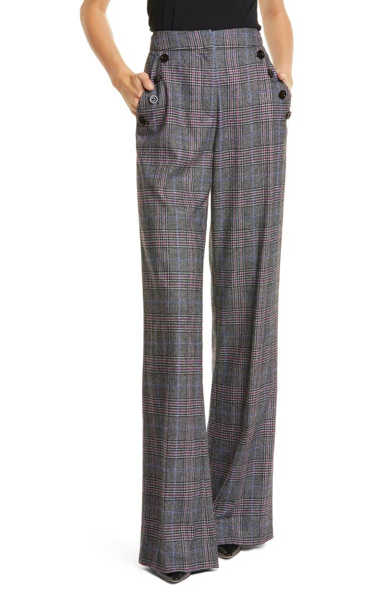 VERONICA BEARD Tuli Glen Plaid Wide Leg Pants, Main, color, BLACK MULTI