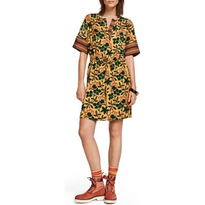 Scotch & Soda Mix Print Tie Waist Dress, Yellow