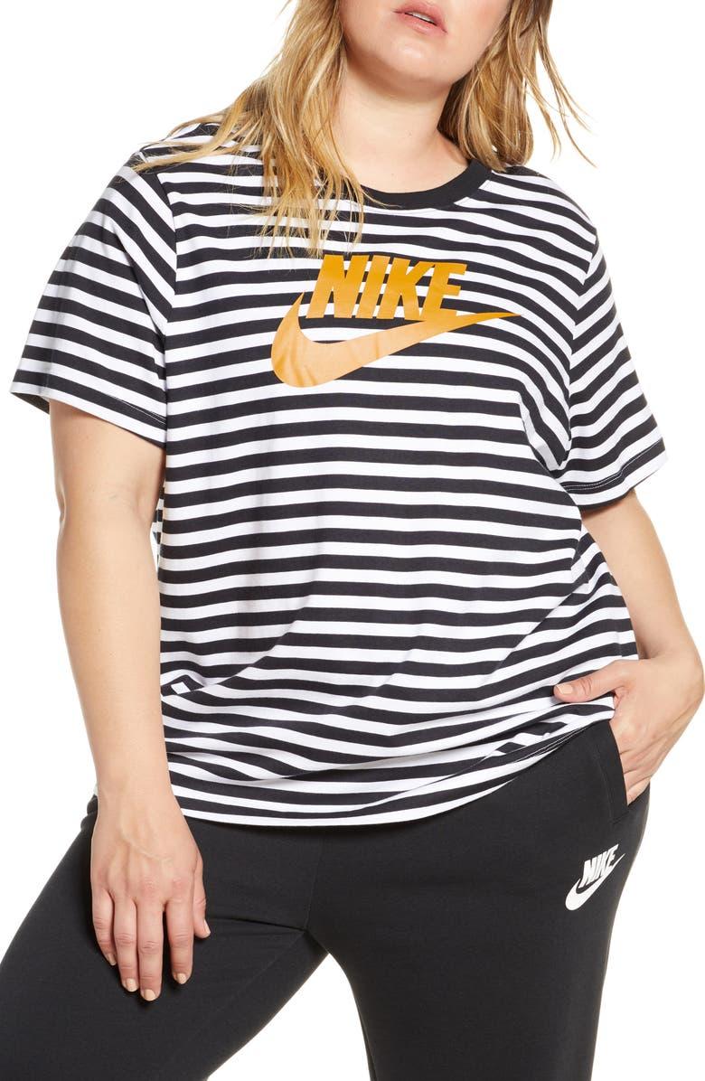 NIKE Sportswear Logo Stripe Tee, Main, color, 100