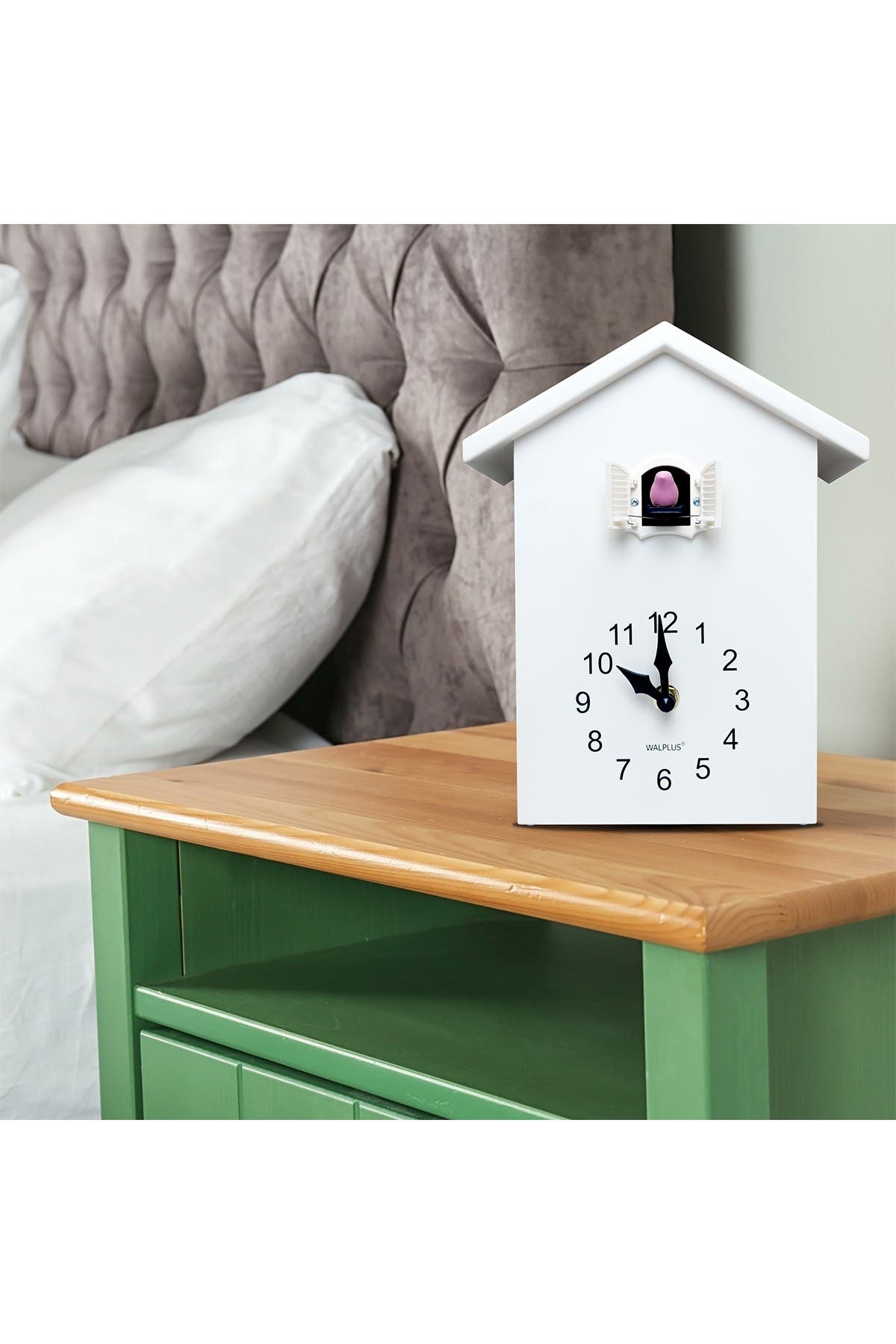 Image of WalPlus White Cuckoo Table Clock - White Window