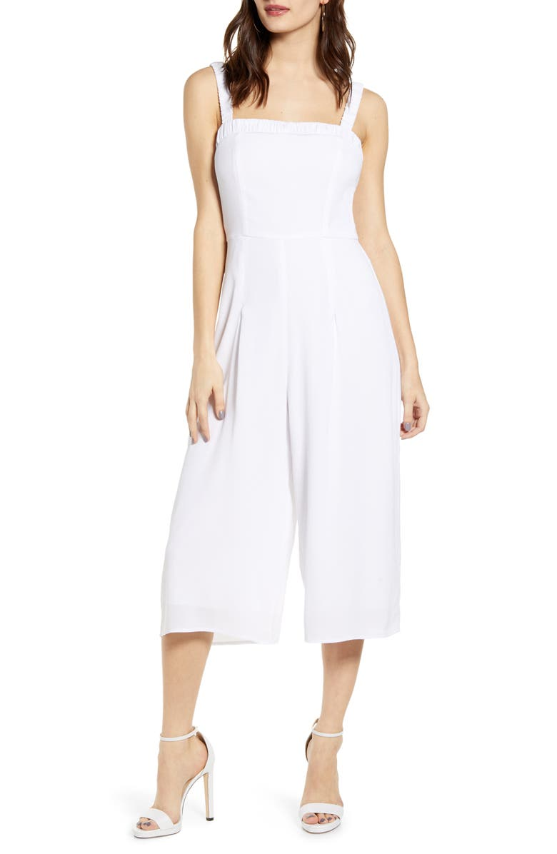 ROW A Shirred Strap Crop Jumpsuit, Main, color, WHITE