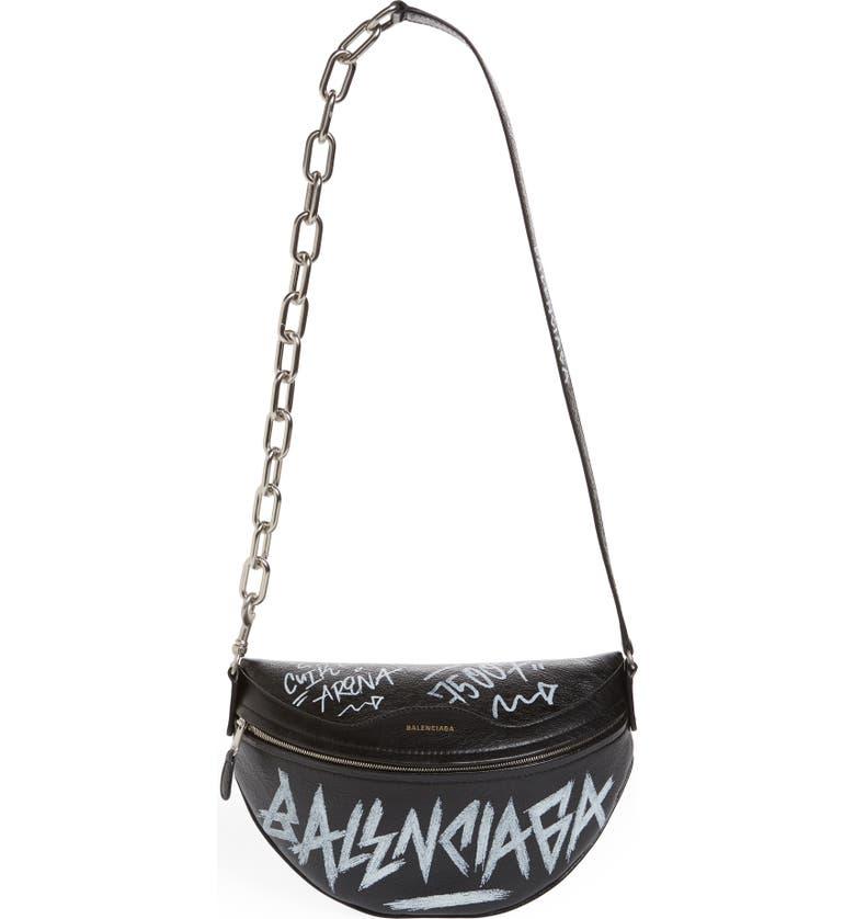 BALENCIAGA Graffiti Souvenir Leather Belt Bag, Main, color, 001