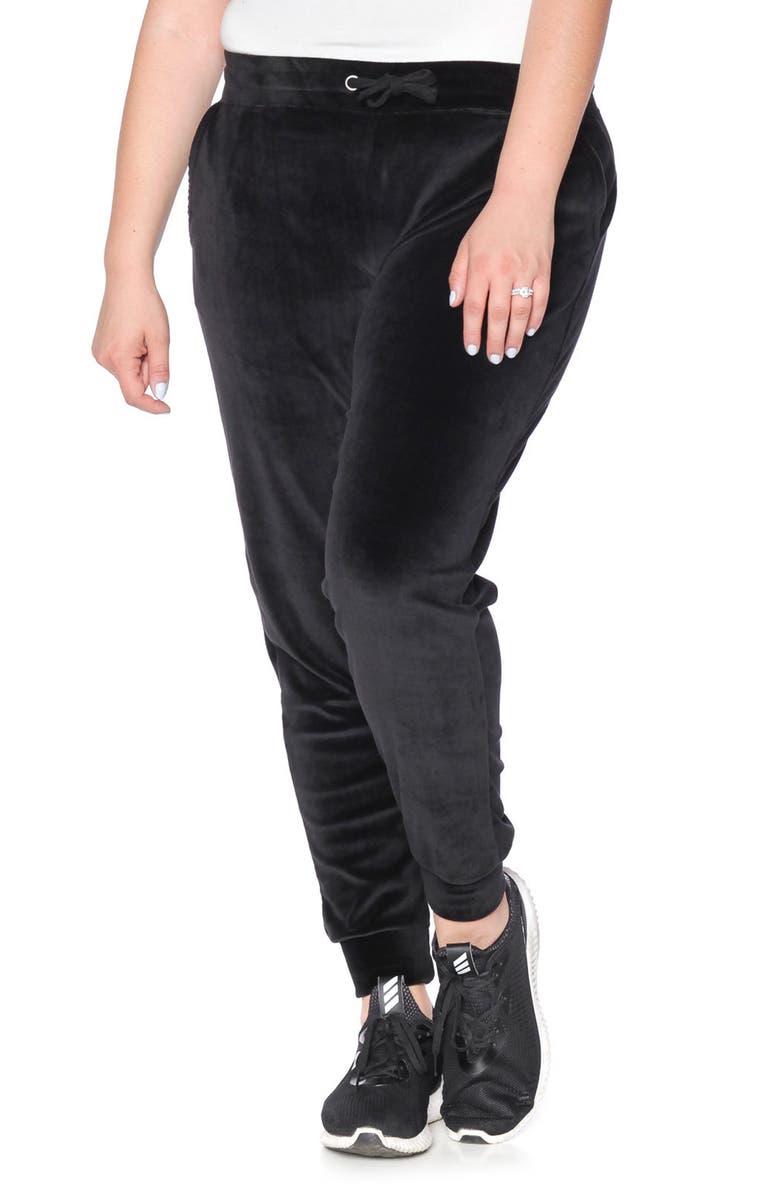 SLINK JEANS Velour Jogger Pants, Main, color, JET BLACK