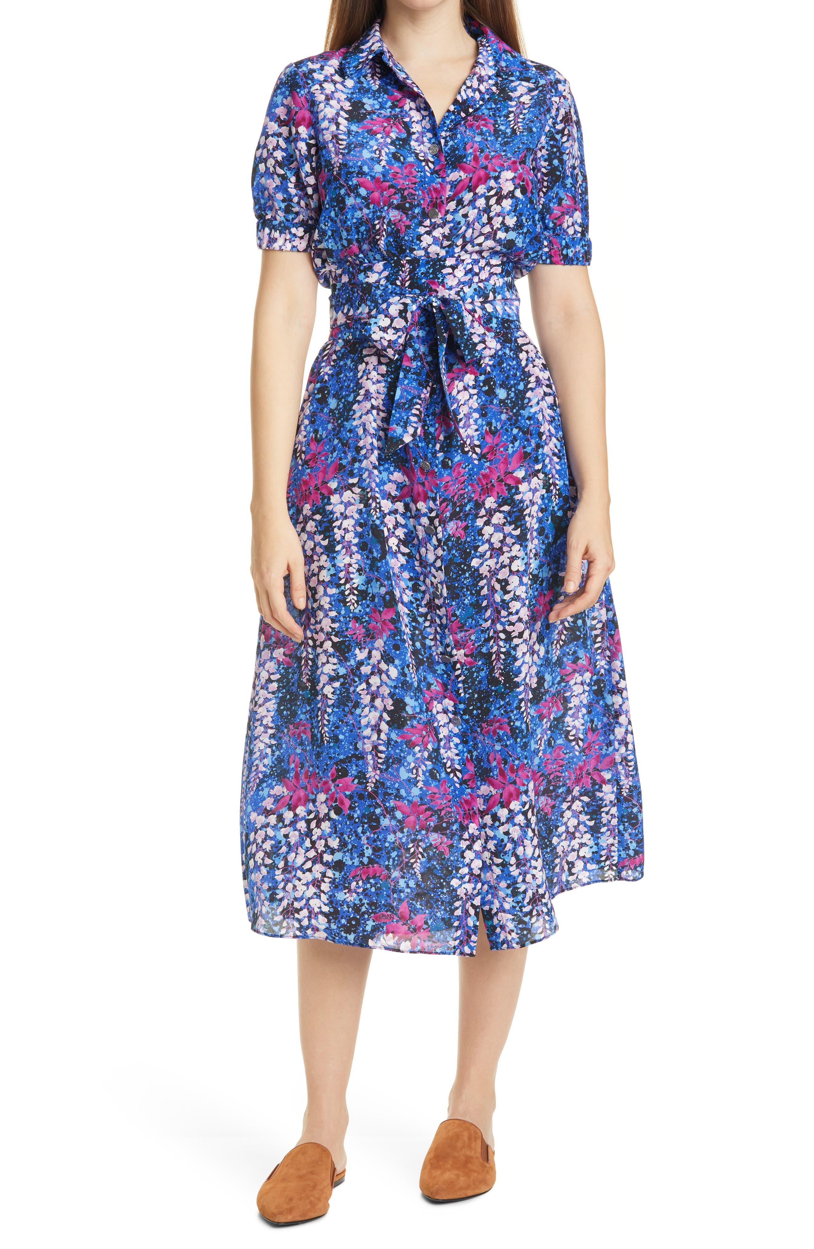 Floral Print Short Sleeve Silk Blend Shirt Dress